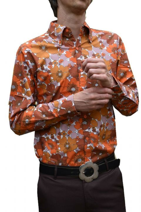 Mens Flower SHIRT - Psychedelic 60's Floral - Orange